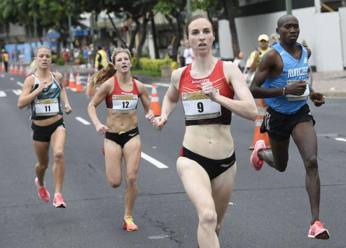 The inaugural Kalakaua Merrie Mile on Saturday December 10, 2016. Part of the Honolulu Marathon weekend, the mile race is on the iconic Kalakaua Avenue in Waikiki, Honolulu.