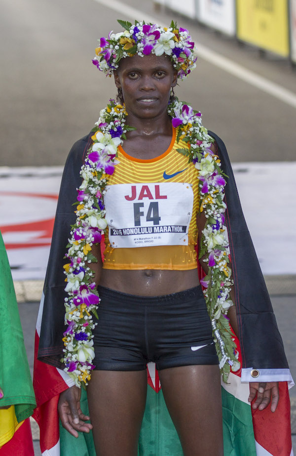 Honolulu Marathon's women's first place finisher Sunday, Dec. 11, 2016, Estimated 25,000 runners from all over the world participated in the annual race in Honolulu.