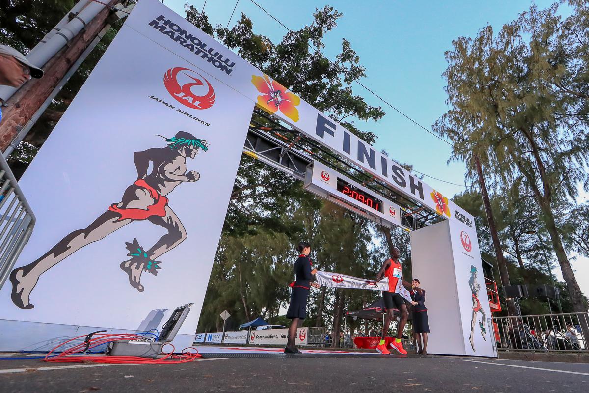 HONOLULU, HI - DECEMBER 09:  Titus Ekiru of Kenya wins the Honolulu Marathon 2018 on December 9, 2018 in Honolulu, Hawaii.  (Photo by Tom Pennington/Getty Images for HONOLULU MARATHON) *** Local Caption *** Titus Ekiru