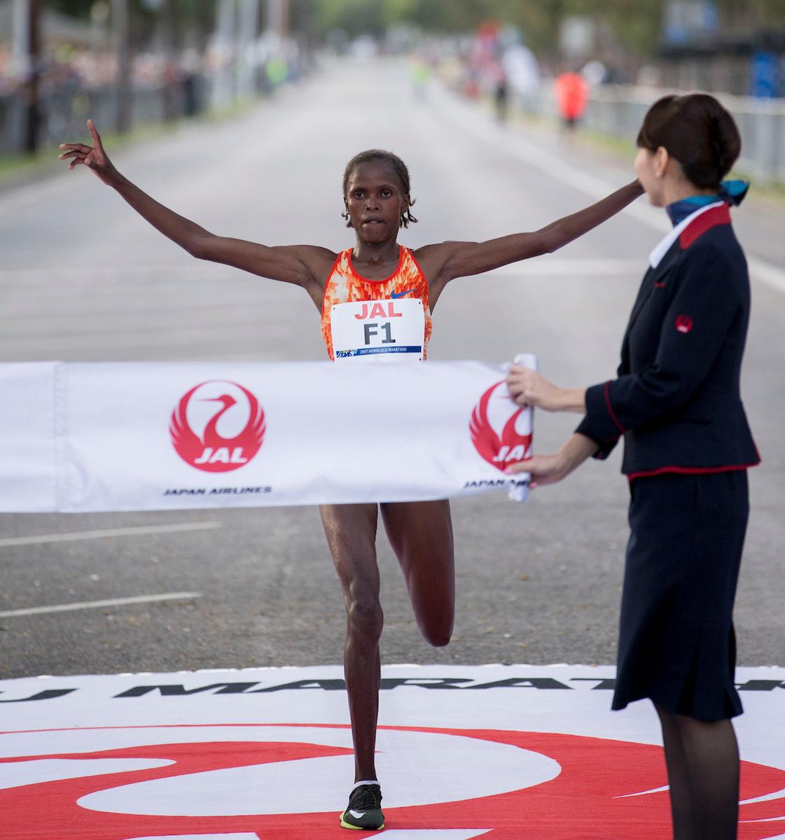 Brigid Kosgei wins Honolulu Marathon Sunday, Dec. 10, 2017, at Waikiki in Honolulu.